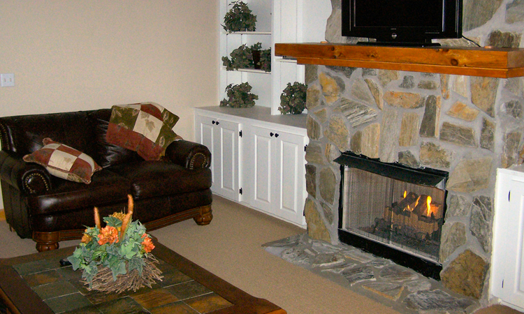 White Oak Condo Fireplace